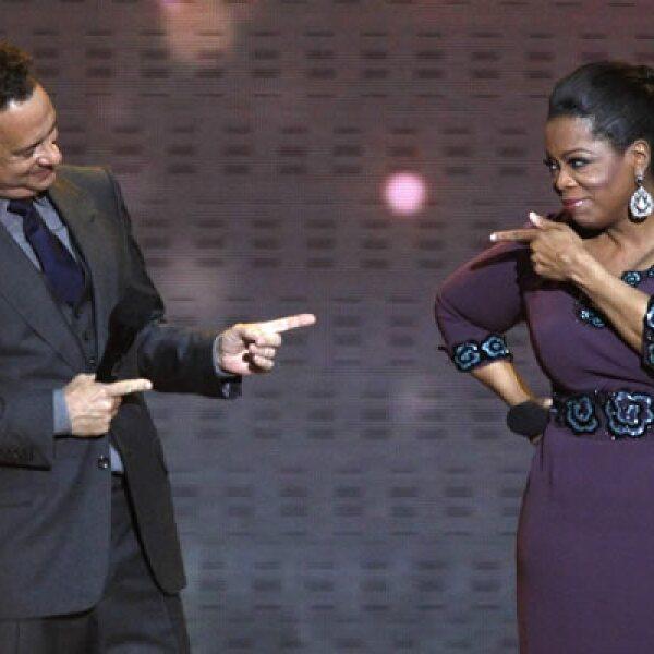 Tom Hanks fue uno de los primeros invitados en la despedida de la conductora. Ha participado en más de 15 películas que han rebasado los 100 millones de dólares en ganancias y tiene 2 premios Oscar.