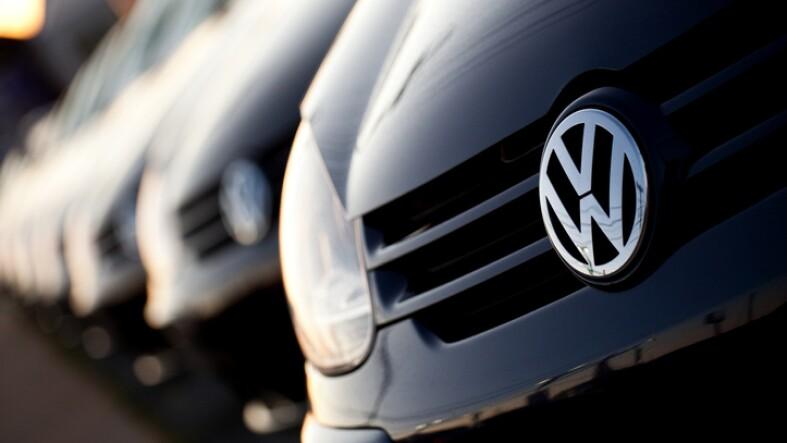 Row of new Volkswagens at dealership