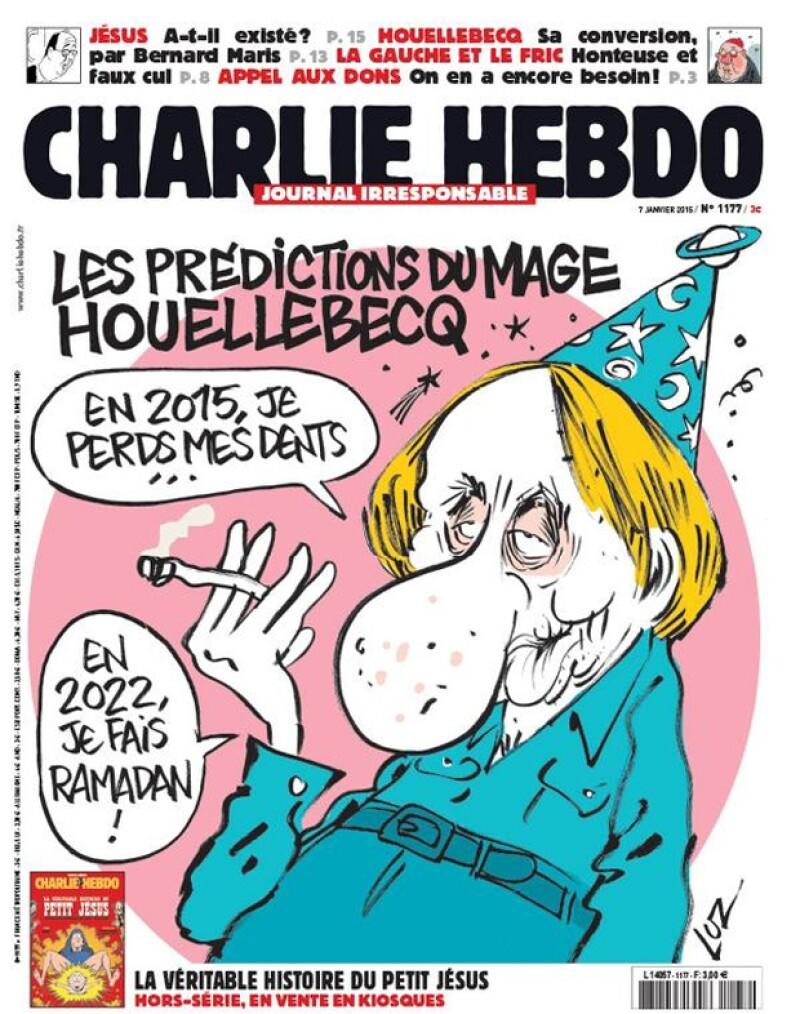 Ésta fue una de las últimas portadas del diario Charlie Hebdo. En ella, el escritor Michel Houellebecq figura a propósito de su novela en la cual habla de reflexión espiritual y política sobre el Islam.