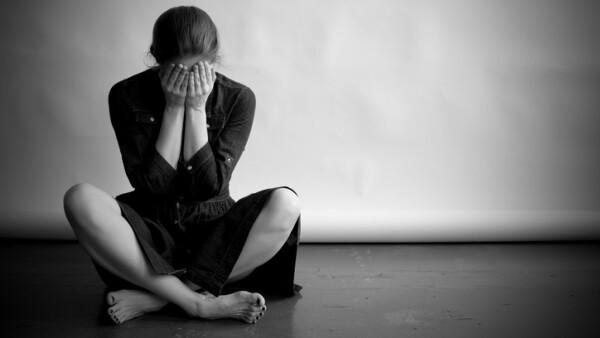 Depressed woman in monochrome