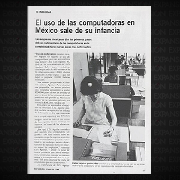 El primer artículo de portada de Expansión abordaba el tema de las computadoras en los negocios y cómo cada vez más empresarios mexicanos comenzaban a utilizarlas. Su elevado costo era la principal crítica y razón de escepticismo.