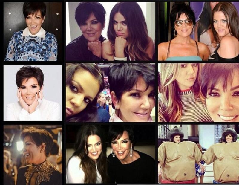 Kim publicó las tres imágenes que parecen a la izquierda y Khloé el collage en el que aparecen madre e hija.