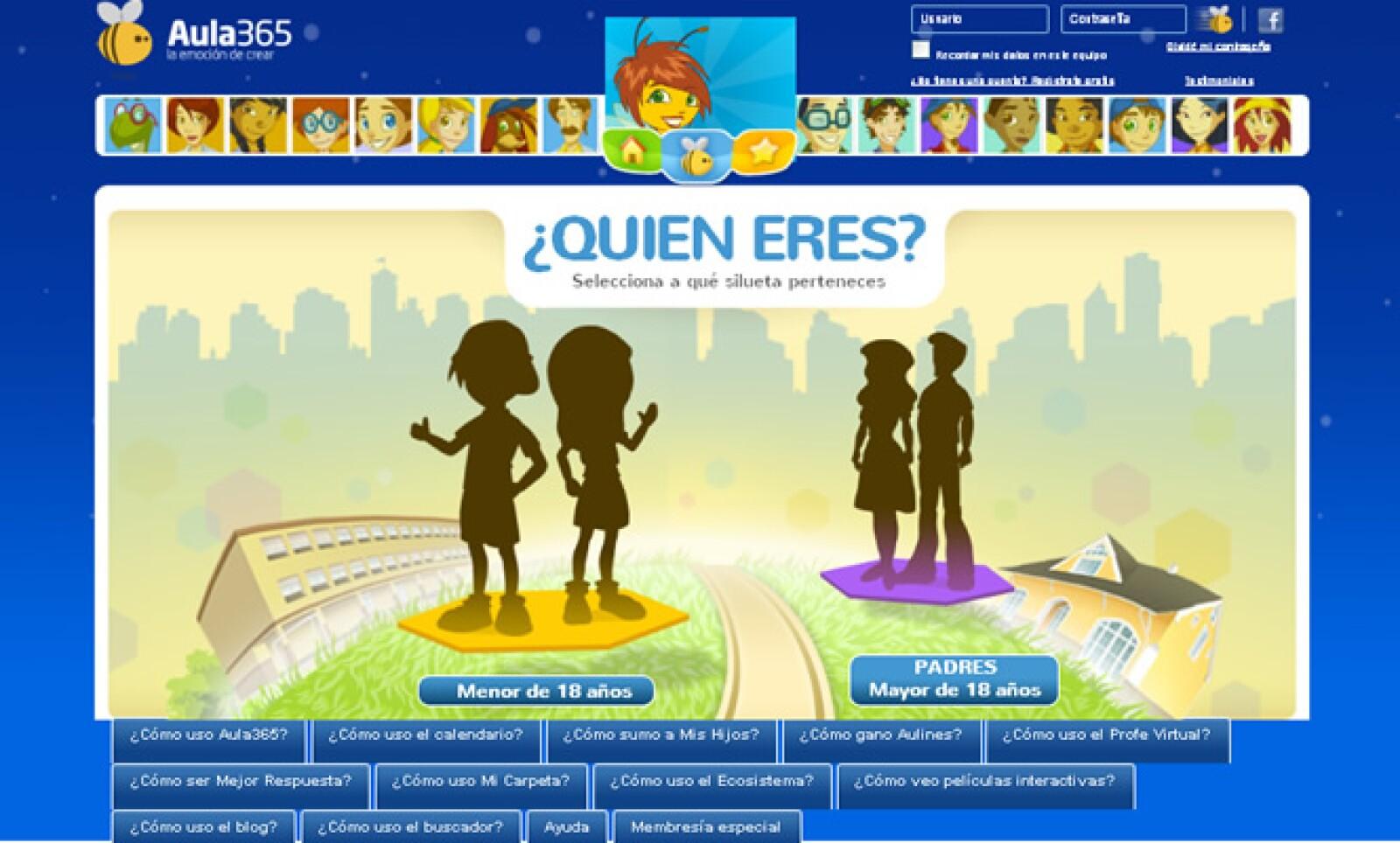 Dentro de la categoría 'Educación' se encuentra 'Aula 365', una plataforma de apoyo escolar para el hogar; proporciona asesorías para niños de edad preescolar hasta jóvenes de preparatoria.