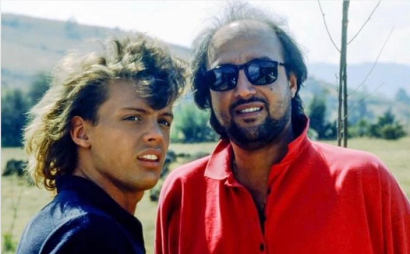 Pedro y Luis Miguel durante la grabación del video La Incondicional.