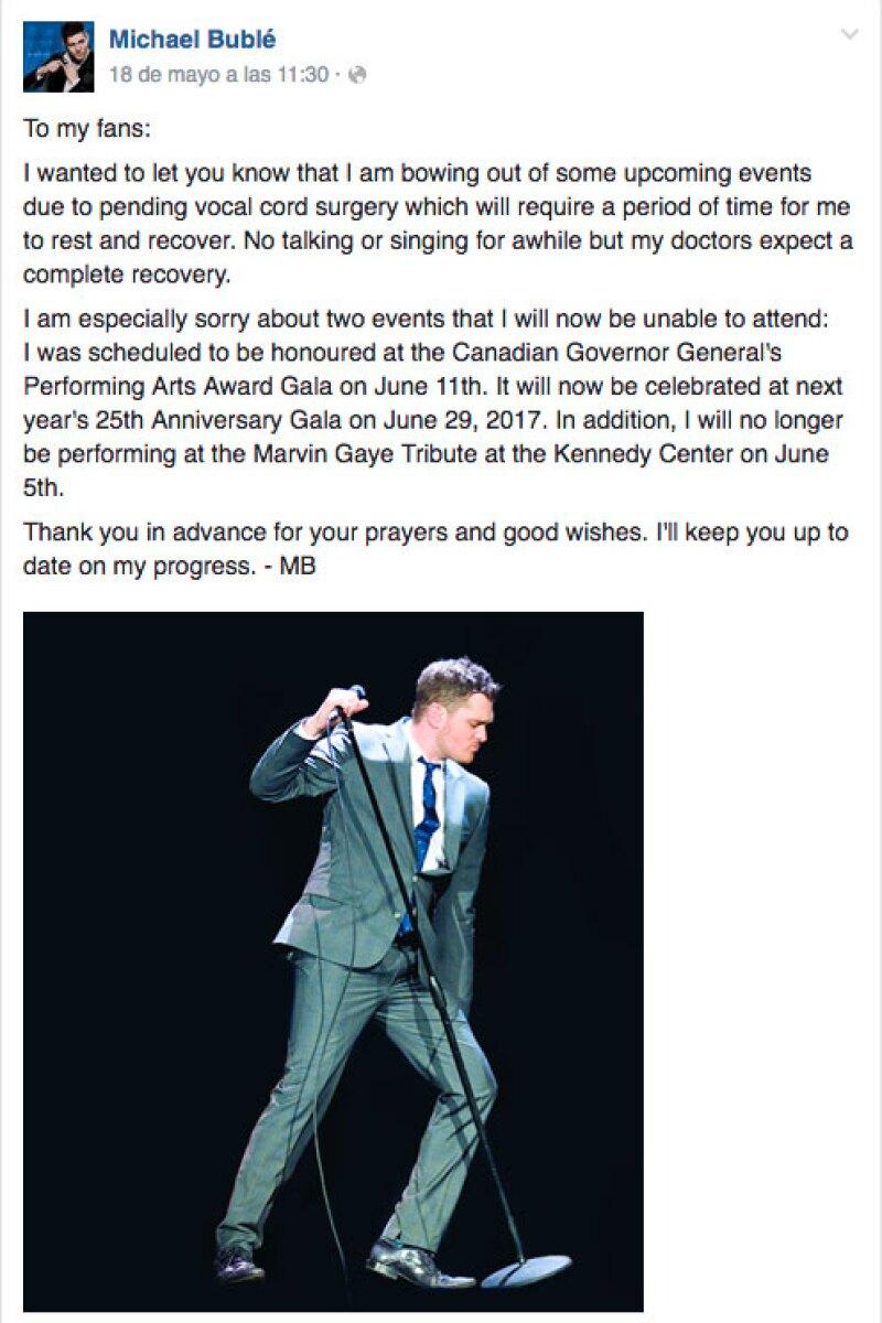Este es el post con el que el cantante canadiense anunció su retiro temporal de los escenarios.