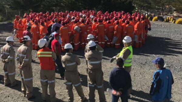 trabajadores mineros de la mina San Mart�n