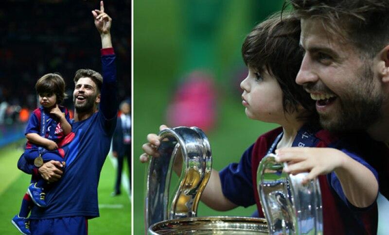 El defensa del Barcelona se mostró eufórico en el Olímpico de Berlín tras la victoria de su equipo, junto con su hijo Milan.