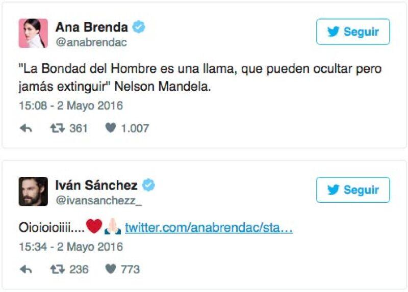 Iván no se quedó atrás con las muestras de cariño, pues le respondió con un tuit a su novia.