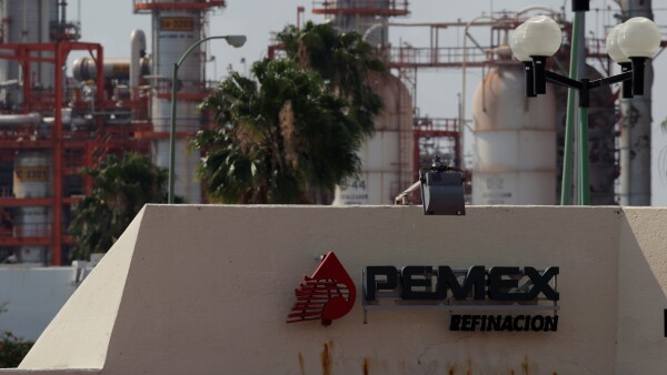 FILE PHOTO-The logo of Mexico's state-owned company Pemex is pictured at a refinery in Cadereyta