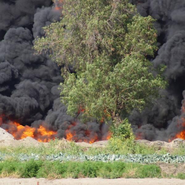 Cuerpos de emergencia tardaron más de 40 horas para controlar el fuego de un poliducto de Pemex en Quecholac, provocado por una toma clandestina. Del 14 al 16 de marzo.