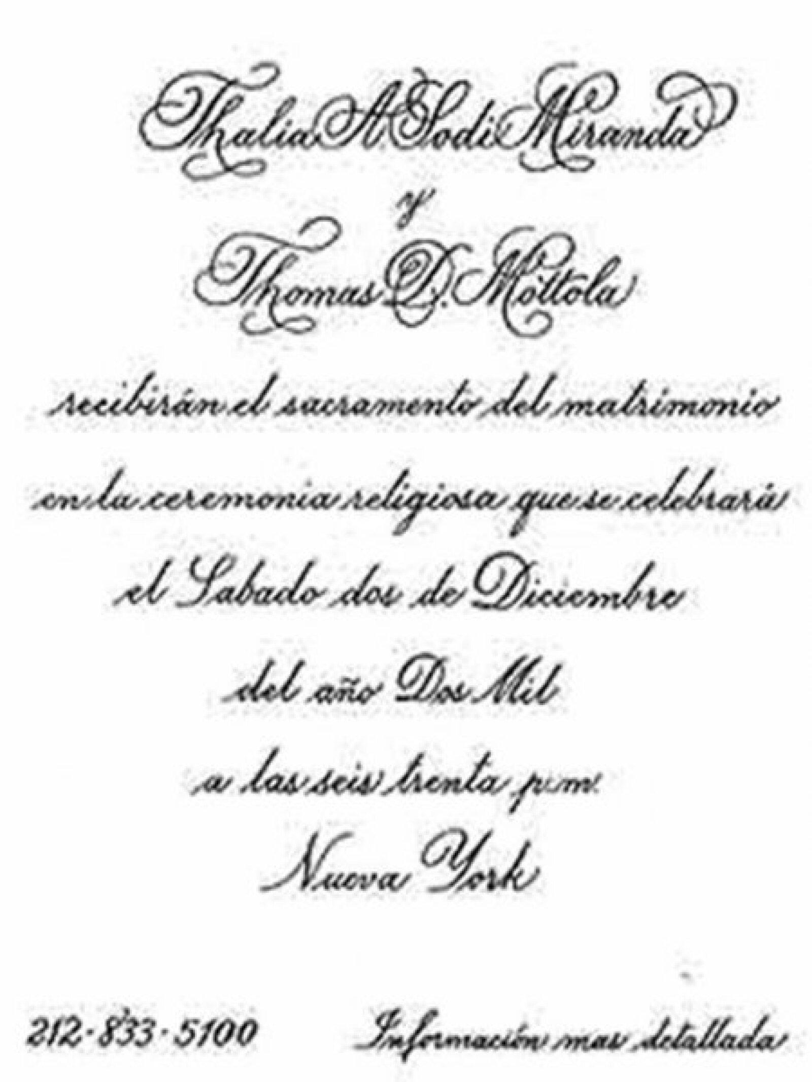Esta fue la invitación de la boda.
