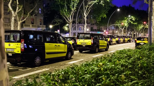 Taxi strike in Barcelona.