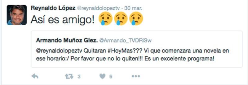 Hoy Más efectivamente, saldrá  del aire, así lo confirmó el productor Reynaldo López.