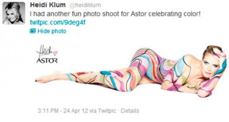 Como una forma de probar que la top model regresó a su vida mormal, ésta decidió participar en la campaña de una línea de maquillaje, en la que pintó su cuerpo desnudo.