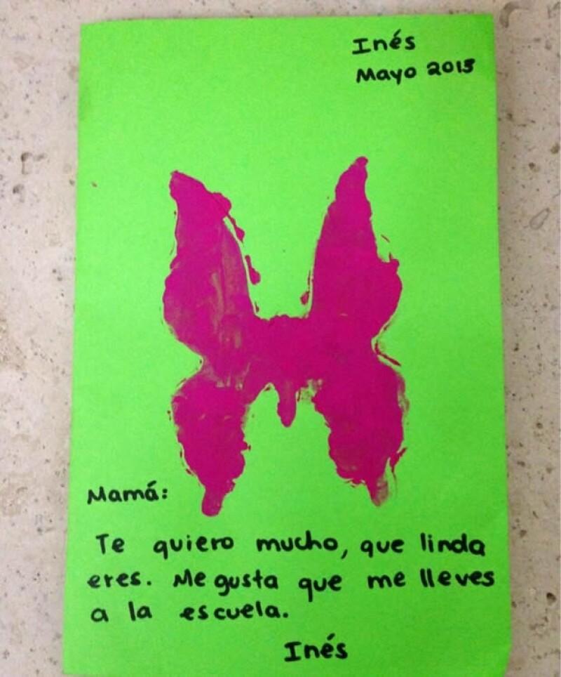 Este es el dibujo que Inés Gómez Mont recibió de parte de su hija.