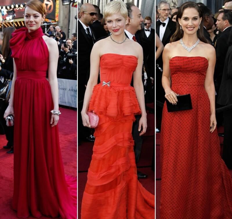 Emma Stone, Michelle Williams y Natalie Portman en rojo.
