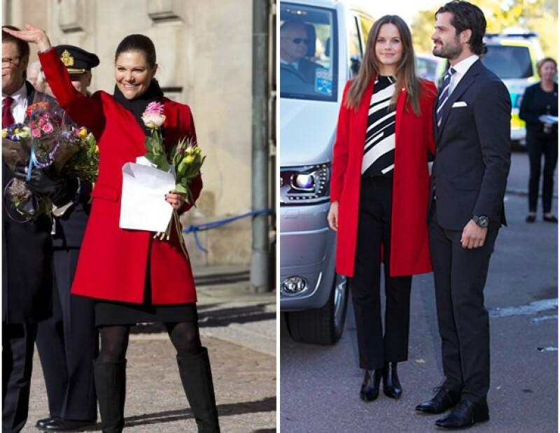 Sofia Hellqvist llevó el mismo saco rojo que la princesa Victoria.