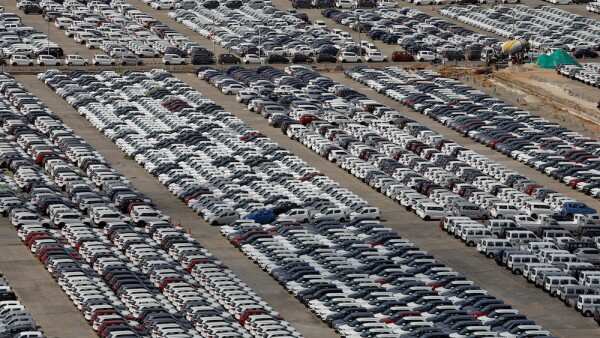 FILE PHOTO: Cars are seen parked at Maruti Suzuki's plant at Manesar