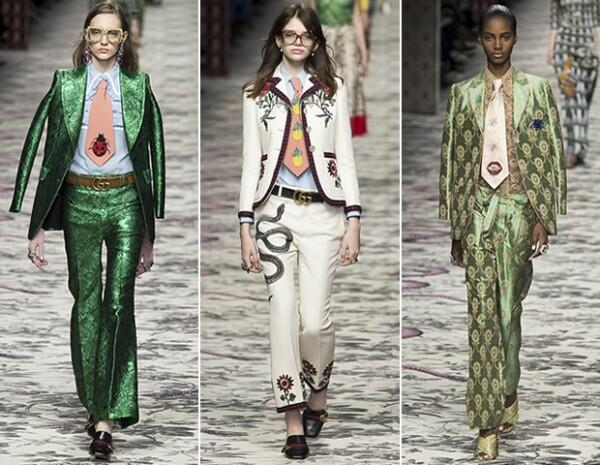 Gucci volvió a presentar trajes, dándoles el toque especial con una corbata bordada.