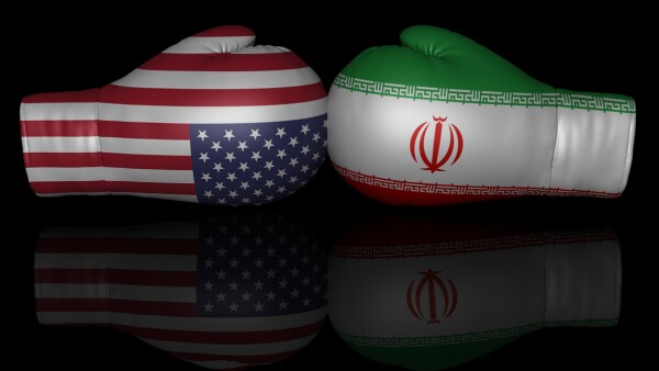 usa iran us sanctions trade war tariffs 3d flags conflict confrontation crisis sign symbol icon graphic isolated on black background