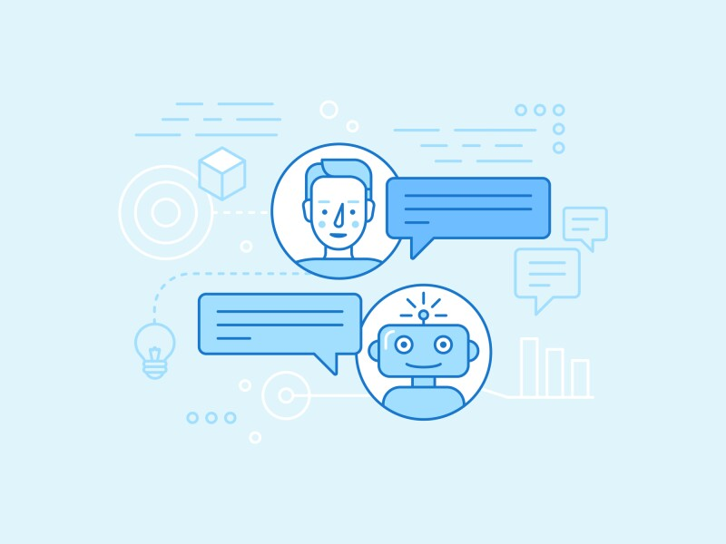 Vector flat linear illustration in blue colors - chatbot concept