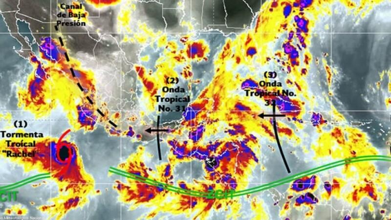 Los fenómenos meteorológicos que provocarán lluvias en el territorio nacional en las próximas horas