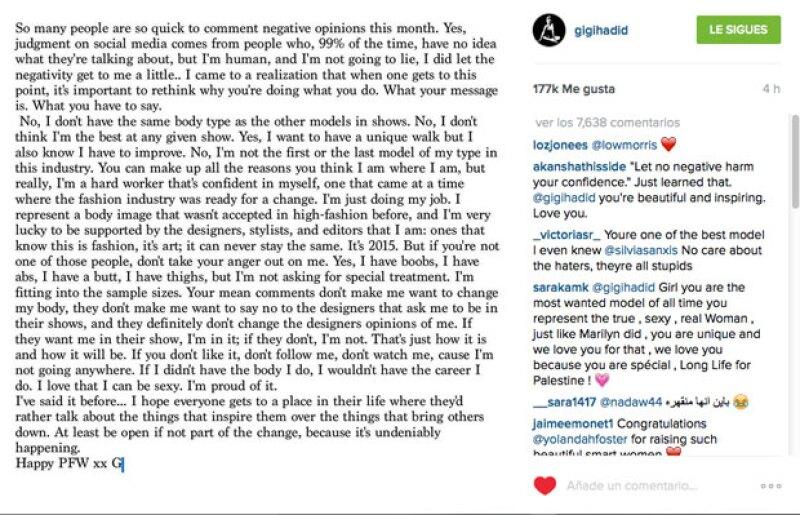 Este fue el mensaje que la modelo publicó en su cuenta de Instagram y que en cuestión de horas alcanzó miles de likes.