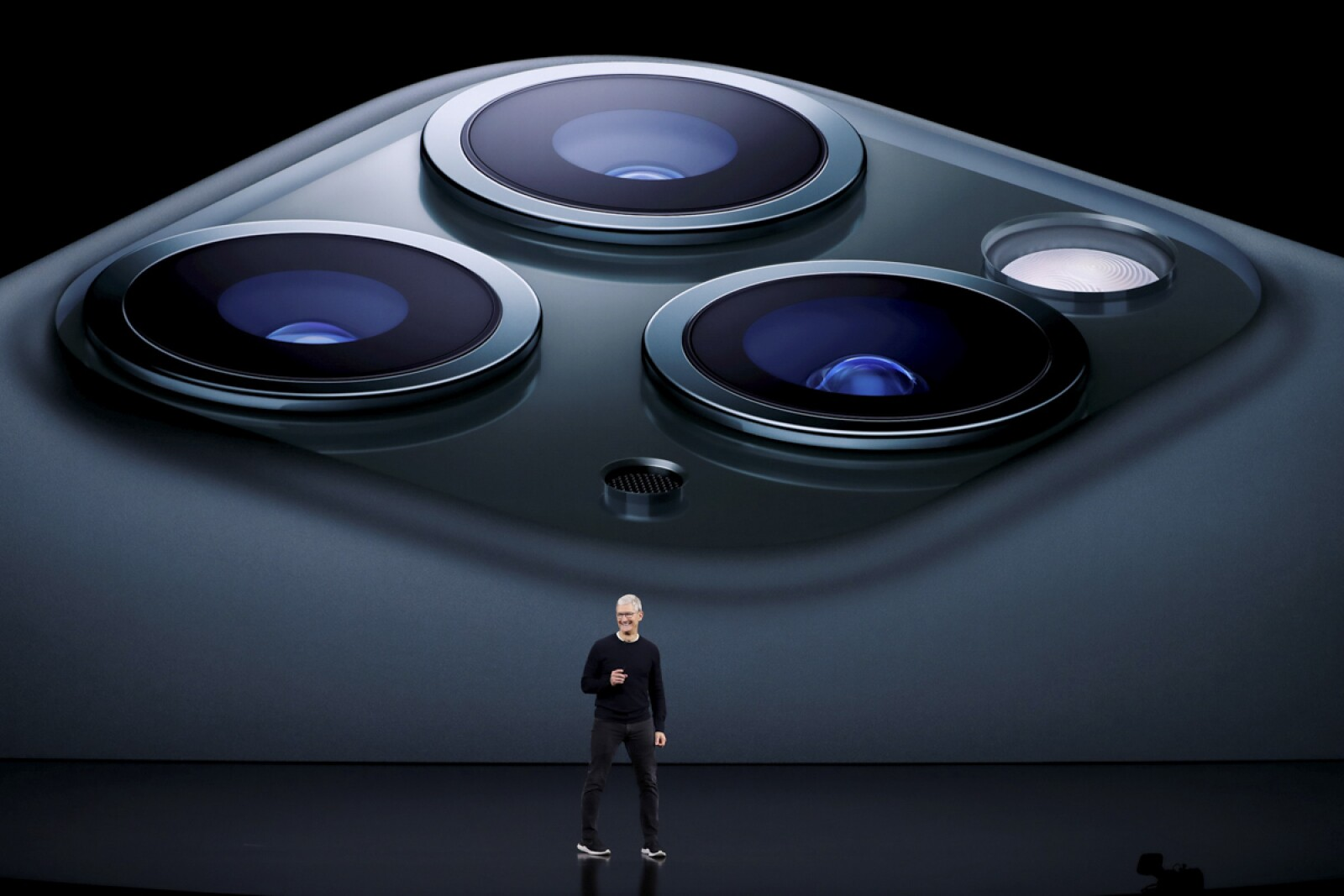 CEO Tim Cook presents the new iPhone 11 Pro at an Apple event at their headquarters in Cupertino