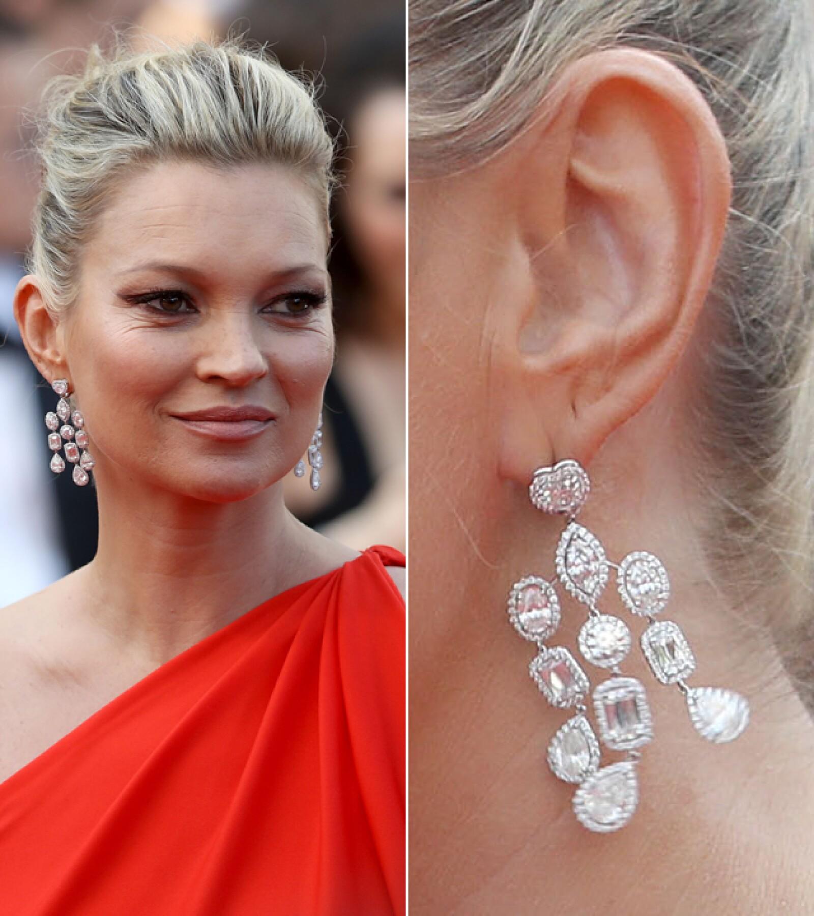 Kate Moss llevó aretes y una pulsera de Chopard a la premiere de `Loving´.