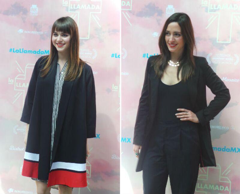 Tessa Ia (izquierda) y Alexis de Anda (derecha) durante la presentación de La Llamada.