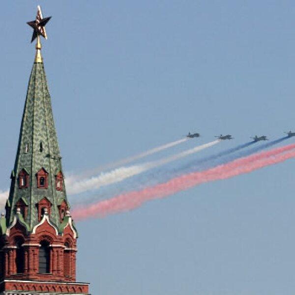 aviones en el desfile de Moscu