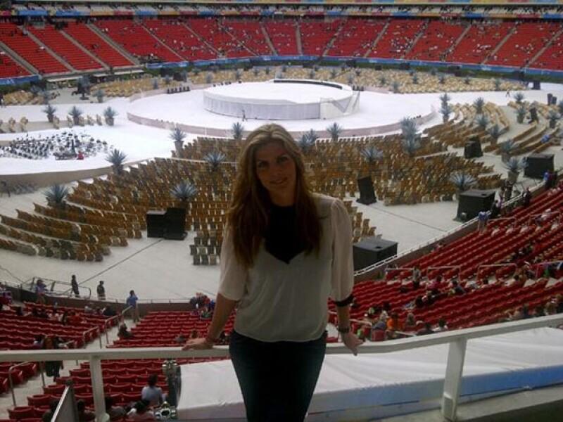 La conductora de televisión compartió en Twitter imágenes previas a la inauguración de los Juegos Panamericanos.