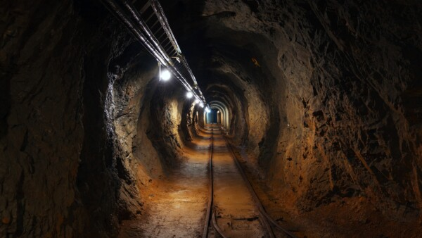 Underground mine passage angle shot