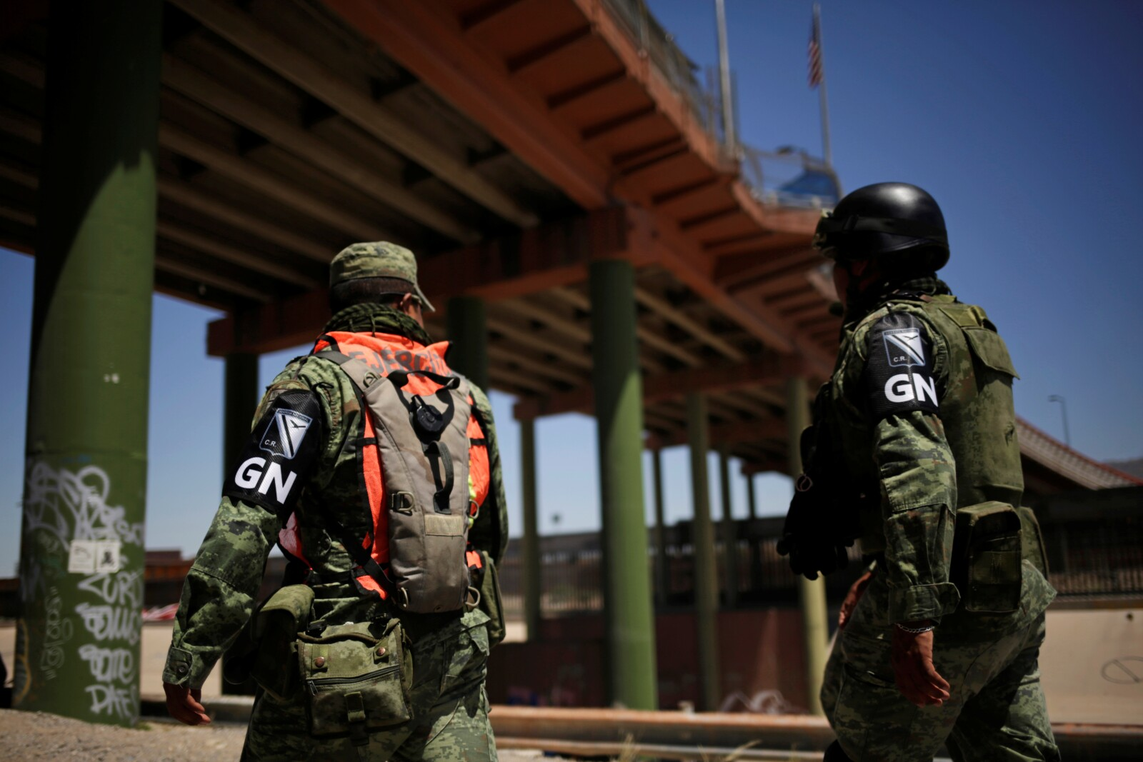 Members of Mexico's National Guard patrol the border between Mexico and the U.S. as part of an ongoing operation to prevent migrants from crossing illegally into the United States, in Ciudad Juarez