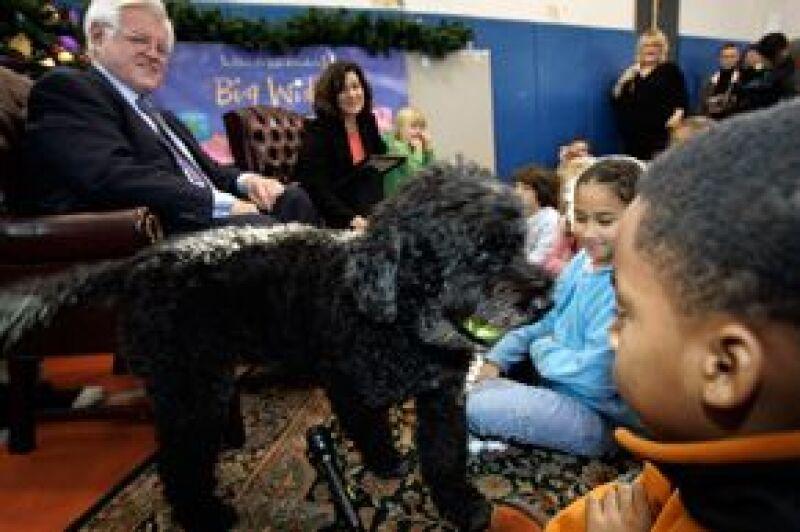 El senador Edward Kennedy tiene un perro de aguas portugués llamado Splash.