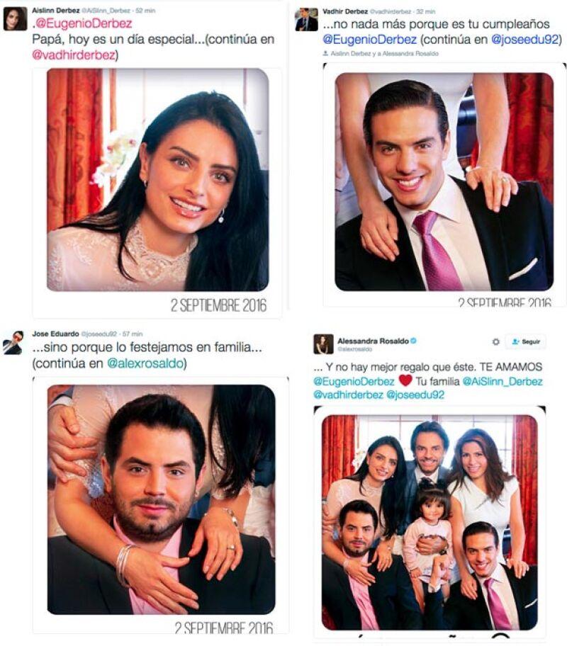 Estos fueron los tuits que la familia escribió en sus respectivas cuentas de Twitter