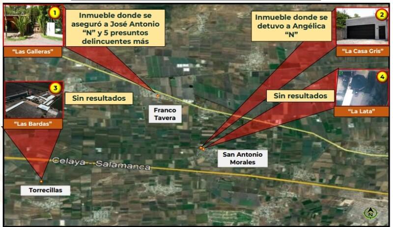 Inmuebles bajo vigilancia con medios aéreos no tripulados, 72 horas previas a la captura del 'Marro'.