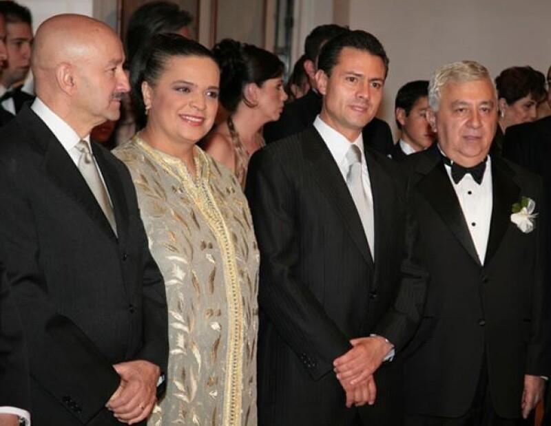Carlos Salinas, Beatriz Paredes, Enrique Peña Nieto y Emilio Chuayffet, anfitrión de esa noche por la boda de su hija.