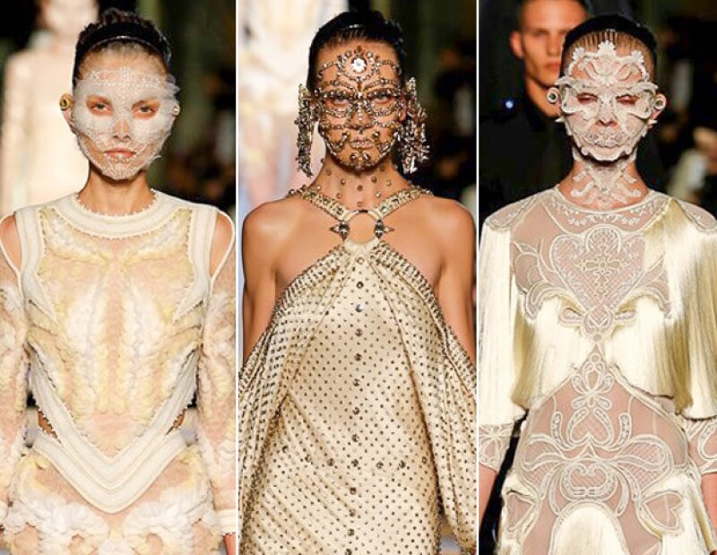 Givenchy presentó vestidos con máscaras como accesorios.