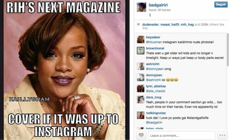 """Rihanna compartió algunas de las """"denuncias"""" que sus fans hicieron contra Instagram."""