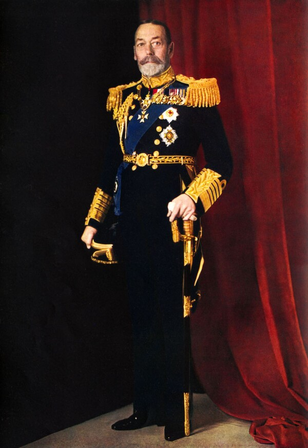 King George V, official portrait photograph of 1935, in full dress uniform with sword.  Illustrated London News Silver Jubilee.  Colour photograph by Finlay Colour Ltd.