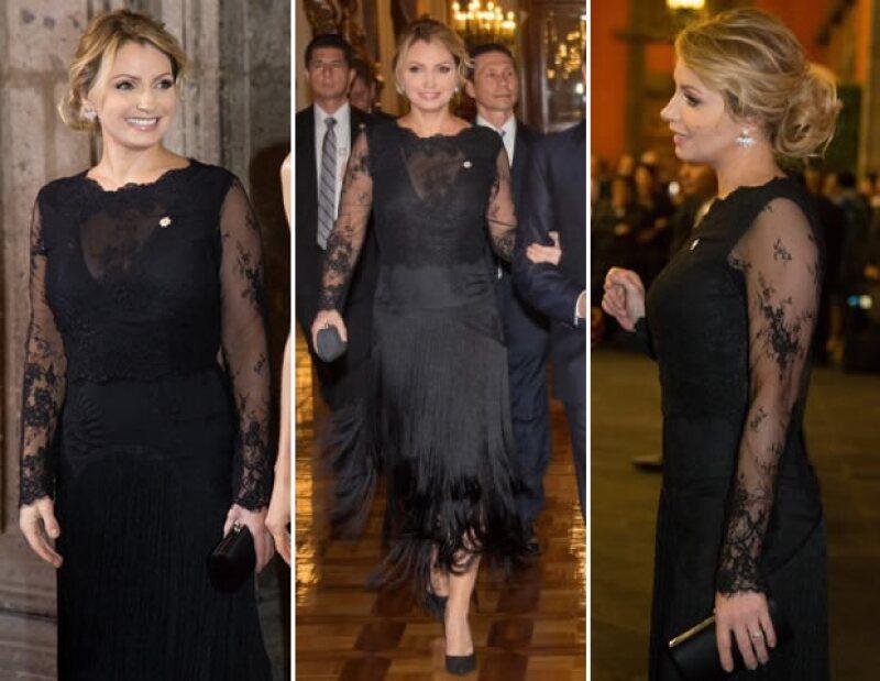 La diseñadora Alexia Ulibarri fue la creadora del vestido con mangas de encaje, transparencias, y falda con flecos que llevó Angélica Rivera a la cena.
