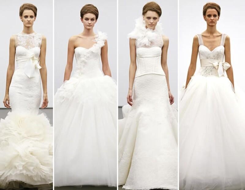 Mangas largas, encaje, bandas en la cabeza y una silueta muy femenina son algunas de las tendencias en vestidos de novia que se proponen para Otoño-Invierno 2013.