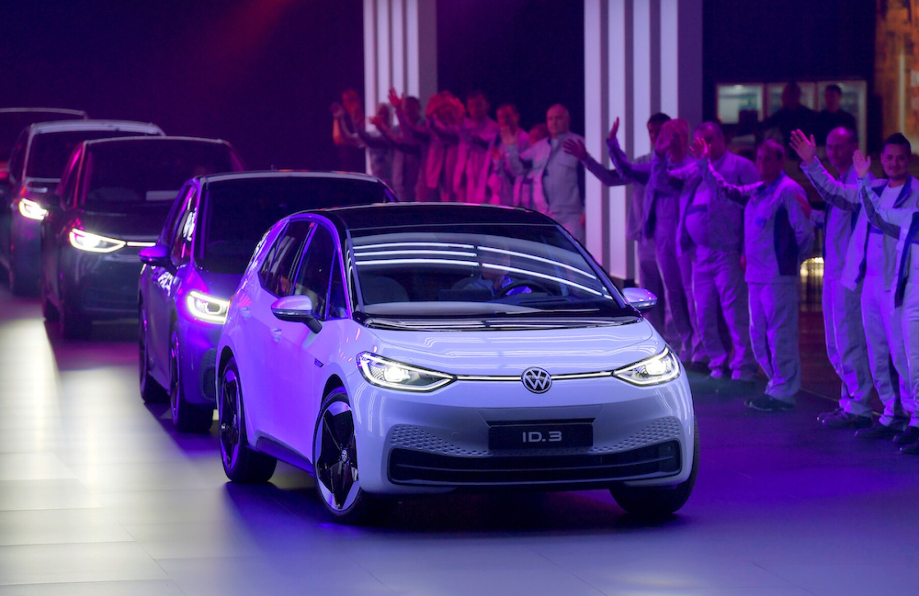 FILE PHOTO : New cars drive during a ceremony marking start of the production of a new electric Volkswagen model ID.3 in Zwickau