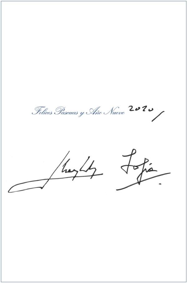 Felicitación de los reyes eméritos Juan Carlos y Sofía.