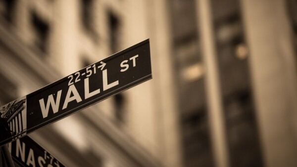Sepia toned Wall Street sign in New York City