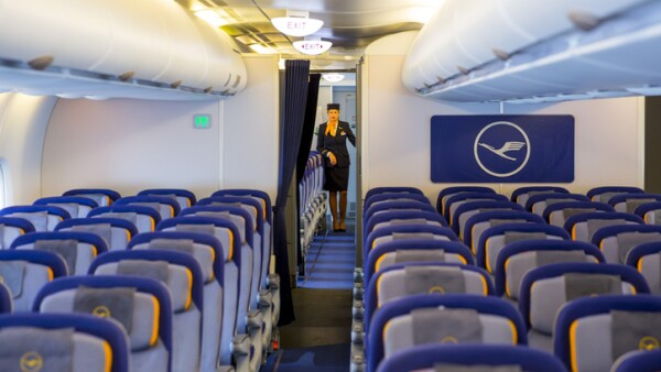 Lufthansa Airbus A380 airplane inside stewardess