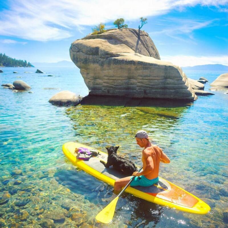 Los perros y sus amos también disfrutan de los deportes acuáticos.