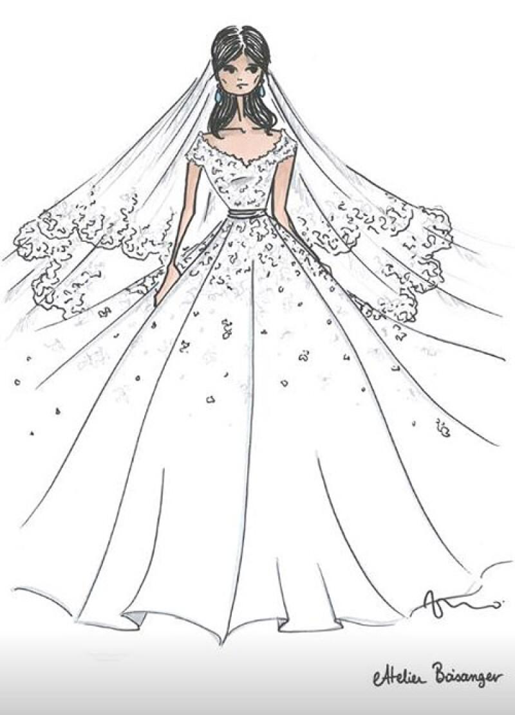 Boceto vestido de novia de Marie Chevallier