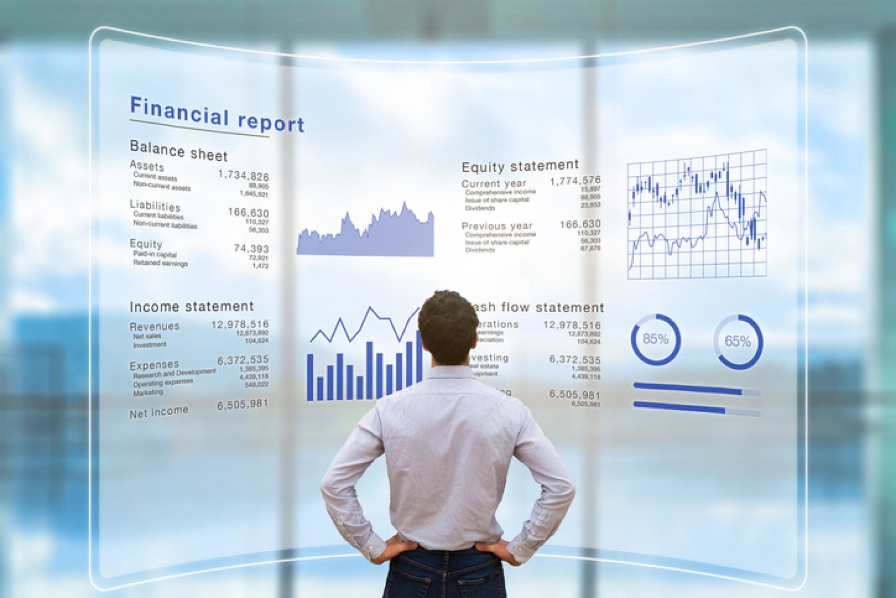 Businessman analyzing financial report data company operations, balance sheet, fintech